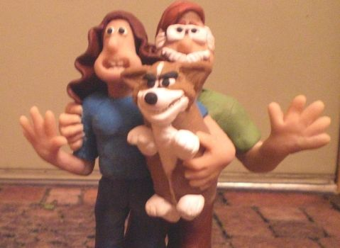 Matt and me and Sam -Wallace and Gromit by Taerietari