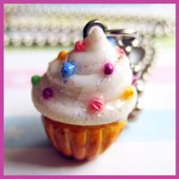 Sprinkled Cupcake Necklace 2 by cherryboop