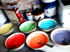 Rainbow cake in the make by tunesonatuesday