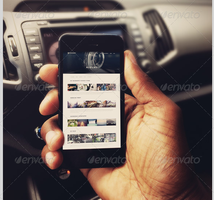 Smart Phone in Car Mockup Templates-V2 by loswl