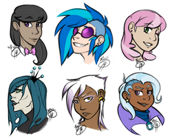 More Human Ponies and A Griffon by HoneyCane