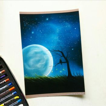 'Noctuae' Pastel drawing by Tinesdierportretten