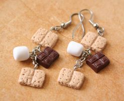 S'more Dangle Earrings by DarkRaven17