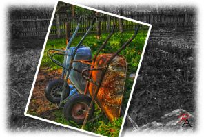 Two rusty wheelbarrows by Surfinger