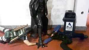 RE Cosplay Wesker pins Leon and Chris by IKevinXSer