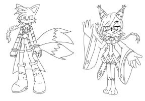 Tails and Nicole as Gunvolt and Morpho lineart V2 by MasterEni2009