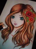 girl with flowers in her hair by Mikki7755