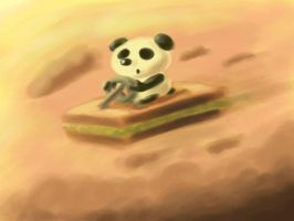 Panda Riding on Kaya Toast by Sandcastle