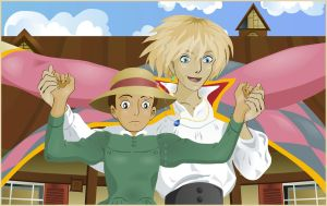 Sky Stroll   Howl's Moving Castle by broom-rider