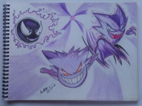 Gastly, Haunter, and Gengar by flare029
