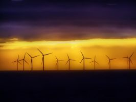 Windmills at Sea by elfullero
