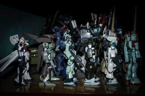Gundams and GM's by archaznable30