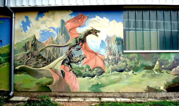 dragon mural by nebezial
