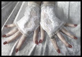 White Lace Fingerless Gloves by ZenAndCoffee