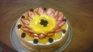 Angel cake with fruit decoration by LopezGdlp