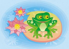 Frog in the Lilypad::::::: by Witchiko