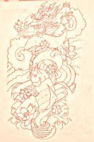 koi dragon sleeve lines by BMXNINJA