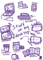 Stuff on my desktop by twinelights