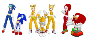 MMD PD Vocaloids in Sonic costumes by Oneirio