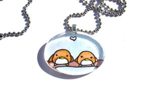 Hand Drawn Birdy Love Pendant by PinkChocolate14