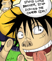 Luffy and Ace picture time by firnantowen