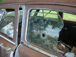 Old Car Window Bullet Hole by ThruCarolsEyes-Stock by ThruCarolsEyes-Stock