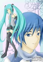 Vocaloid: Miku and Kaito by zapphy