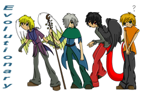 Evolutionary: Aaron Cam Eric and Phil by LavenderDragonHeart