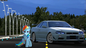 Rainbow Dash and her Skyline R34 GT-R by nestordc