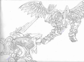 Eve Vs Blade Liger- Sketch by MidnightLiger0