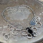 Winged Fork Pendant - With Jet Black Crystals by Doctor-Gus