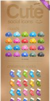 CUTE SOCIAL ICONS by FreePSDDownload