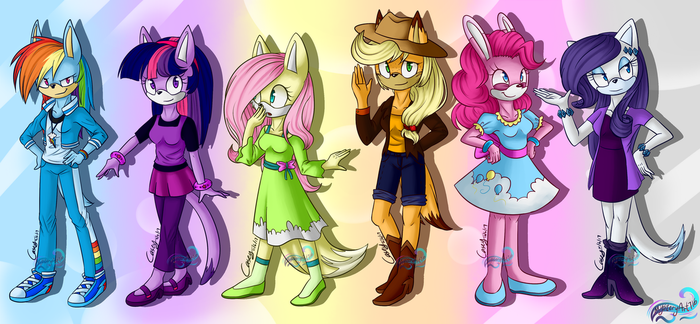 Mane 6 mobian Redesign by mysteryponyfan