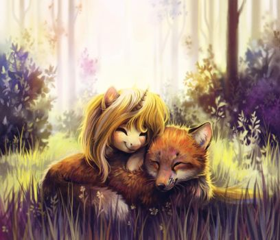 Two foxes in the forest by DearMary