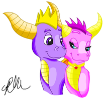 Spyro and Ember Love by EeveePikachuChan
