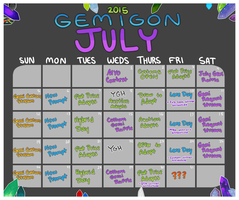 Gemigon July: Calendar by catdoq