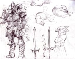 Bird Templar doodle page by justinwongart