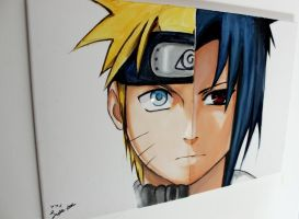 Naruto and Sasuke by Sophie--Chan
