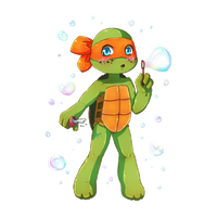 Mikey Blowing Bubbles by CutieClovers