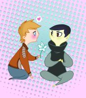 Widdle Kirk and Spock by spicysteweddemon