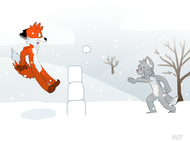 Snowball fight - drawn by ThesePantsDontFit by Hukley