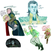 Some thorki doodles by Hacate