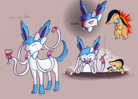 Stacey Jane the Sylveon(And Little Man Servant) by Wonder-Waffle