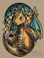 Dragonite Tattoo Commission by RetkiKosmos