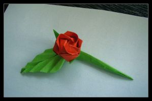 simple origami rose by lonely--soldier