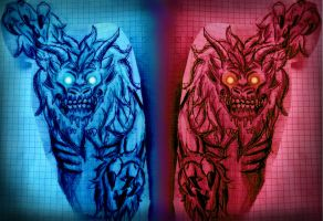 Blue and Red Demon by Nobodyendless