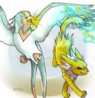 swellow vs jolteon by LumosLightning
