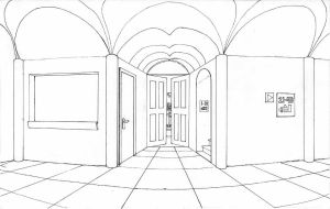 Scenery lineart - Hall by ikeroyo