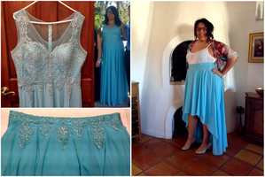 Dress to Skirt Conversion: Turquoise by pinkythepink