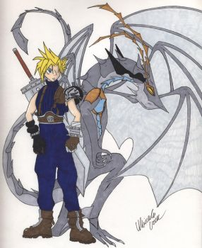 Cloud and Bahamut Zero by Chilledskie